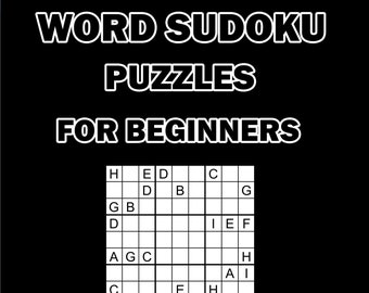 Digital Download 100 Printable Word Sudoku Puzzles For Beginners Vol1, Logic Puzzles For Kids & Adults,  Large Print Wordoku Games + Answers