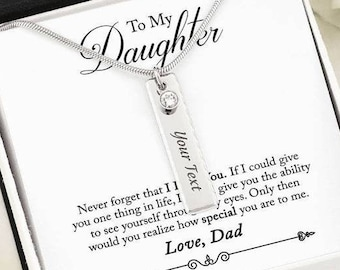 Birthstone Necklace for Daughter from Dad, Personalized Name Plate Pendant & Message Card, Custom Engraving, Unique Birthday Graduation Gift