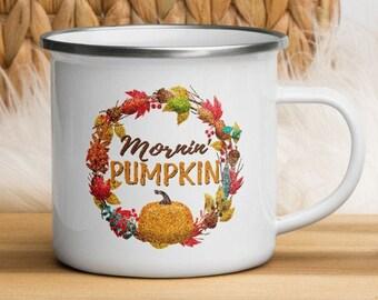 Good Morning Pumpkin Enamel Camper Mug, 12oz White Enamelware Camping Coffee Cup w/ Handle, Autumn Wreath Mornin' Pumpkin Fall Decor