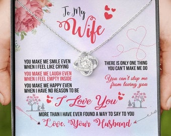 """Necklace For Wife, """"Love Knot"""" 14K White Gold Necklace, Gift from Husband, Birthday Anniversary X'mas Presents, Free Message Card & Gift Box"""
