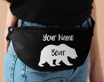 Custom Bear Fanny Pack, Personalized Name Waist Bag, Unisex Belly Belt Bag Men Women, 9 Colors White Black Blue Green Red Pink Purple Orange