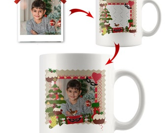 Custom Christmas Tree Mug, Personalized Photo Santa Claus Mugs, Customized Candy Cane Design, Add Your Picture Here, Ceramic 11 oz White Cup