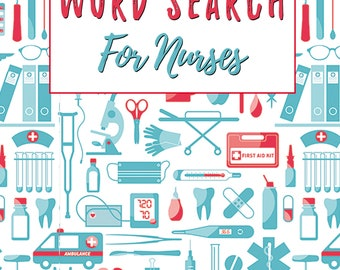 100 Word Search Puzzles For Nurses With Solutions, Digital Download Word Find Book In Printable PDF File, Large Print Nurse Activities Games