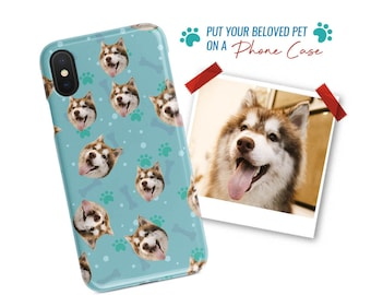 Personalized Dog Face Phone Case, Custom Puppy Faces Pattern Phone Cover for iPhone & Samsung Galaxy Smartphones, Gift For Pet Lovers Owners
