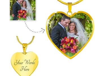 Custom Photo Necklace, Personalized Picture Heart Pendant, Customized Photograph Jewelry With Text Engraving, Stainless Steel or 18K Gold