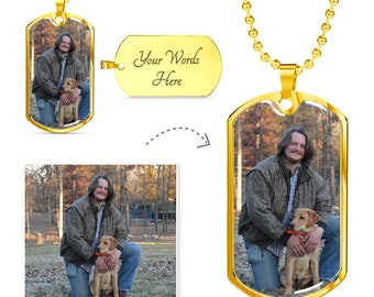 Personalized Military Dog Tag Necklace, Engravable Photo Gift For Men Women Kids, Customize It With Your Picture, Stainless Steel / 18K Gold
