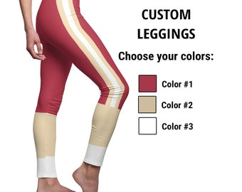 Custom Leggings for Women, Personalized 3-Colors Striped Sports Team Style, Customize it with your Favorite Colors, 6 Sizes for Gym Workout