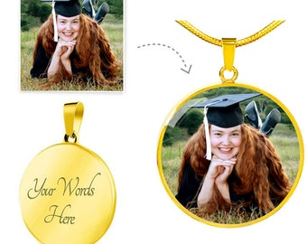 Personalized Graduation Necklace, Graduation Jewelry For Daughter, Custom Photo Gift For Her w/ Text Engraving, Stainless Steel or 18K Gold
