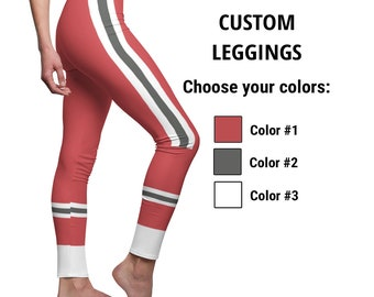 Custom Sport Leggings for Women, Personalized 3-Colors Football Team Style, Customize it with your Favorite Colors, 6 Sizes for Gym Workout