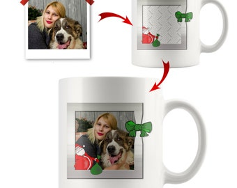 Custom Santa Mug, Personalized Photo Christmas Tree Mugs, Customized Candy Canes Design, Add Your Picture Here, Ceramic 11 oz White Cup