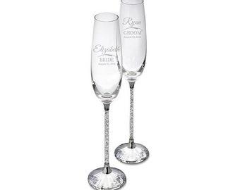92fe836fd00 Swarovski Crystalline Silver Personalized Toasting Flutes