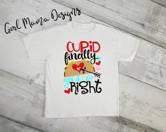 Cupid Finally Got It Right Boys Valentines Shirt