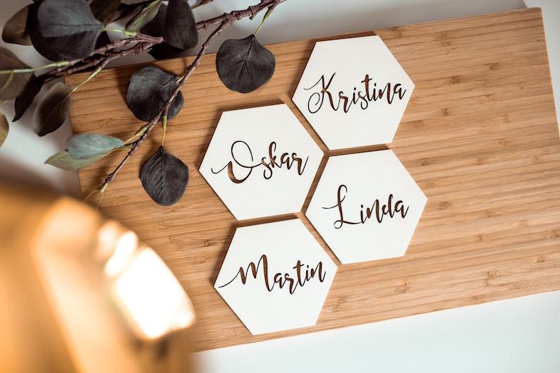 Custom Place Card Wedding Place Card Coaster Calligraphic Coasters Handmade Wooden Coasters Coaster Set Laser Cut Custom Coasters