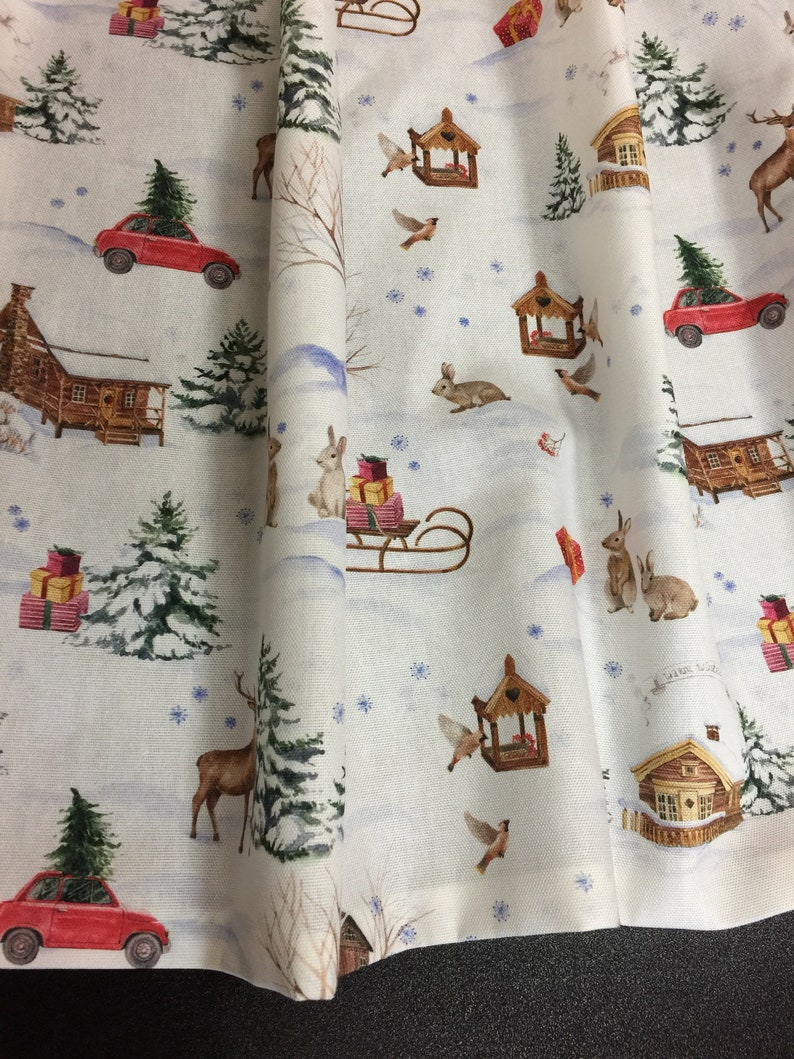 Christmas Curtains Cafe Curtains Kitchen Valance Panels Curtains Retro Style Digital Printed Fabric