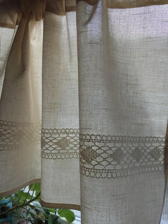 Beige oder weiße Baumwolle Vorhänge Cafe Vorhänge Küche Valance Leinen  Spitze Panels Vorhänge