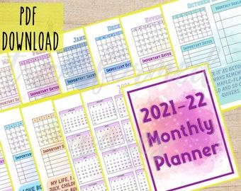 18 Month Printable Calendar | June 2021 - Dec 2022 | Colorful Calendar | Instant download Calendar 2021 - 2022 | Complete Calendar PDF