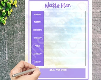 """Weekly Planner Printable To Do List - Print at Home Diary Calendar Page – One Week Organizer Journal – A4 A5 and US Letter 8.5""""x11"""" Portrait"""