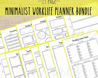 Printable Planner Bundle- Worklife Planner - Planner for work - Minimalist - US Letter - PDF Planner Printable - Monthly Yearly Weekly Daily