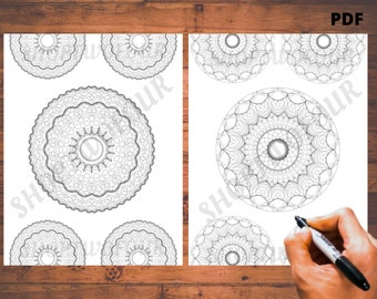 Floral Mandala Coloring Pages for Adults - Repeating- 2 Printable Coloring Pages - Instant Download PDF -Coloring Page- Color Therapy