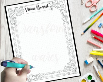 Vision Board Printable - Morning Routine Coloring- Adult Coloring Page- Instant Download PDF- Print at Home-Color Therapy- Floral Coloring