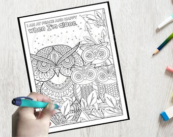 Adult Coloring Page- Morning Affirmation Coloring- Printable - Instant Download PDF- Print at Home-Color Therapy- Uplifting- All Ages- Zen