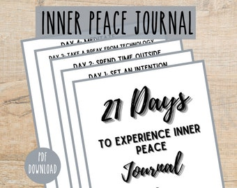 Inner Peace Journal Printable   Anti Anxiety Workbook   Calming Journal   Printable Mind Calming Journal   Declutter Your Mind PDF