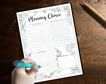 Morning Chore Checklist Printable - Morning Routine Coloring- Adult Coloring Page- Instant Download PDF- Print at Home-Color Therapy- Floral