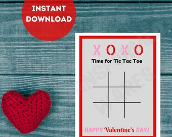 Tic Tac Toe Valentine's Day Card   Printable   Crayon Valentine   Non Candy   Party Favor   Kids   Print at Home   INSTANT DOWNLOAD   PDF