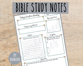 Bible Study Notes, PDF printable, Instant download, Church journal, Scripture mapping planner, Worksheet, Bible Verse Notes, Christian
