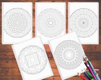 Mandala Coloring Pages for Adults - Coloring Book- 5 Printable Coloring Pages - Instant Download PDF -Coloring Page Set - Color Therapy