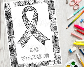 MS Warrior Coloring Page - Chronic Pain Coloring - Inspirational Coloring Book - Adult Coloring Page - Printable PDF - Color Therapy