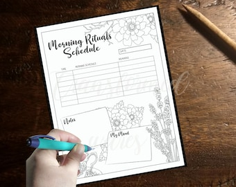 Morning Schedule Printable - Morning Routine Coloring- Adult Coloring Page- Instant Download PDF- Print at Home-Color Therapy- Floral
