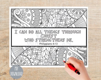 Bible Verse Coloring page | Printable | Instant Download PDF | Inspirational Color Sheet| Christian |  Religious | Sunday School | Adult
