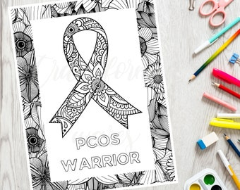 PCOS Warrior Coloring Page - Chronic Pain Coloring - Inspirational Coloring Book - Adult Coloring Page - Printable PDF - Color Therapy