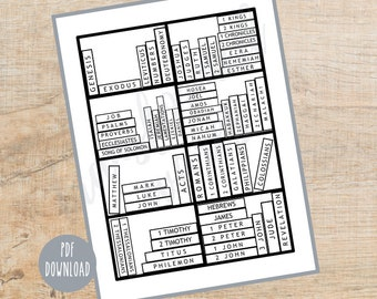 Books of the Bible bookcase tracker coloring page | Books of the Bible Coloring Page|  Printable | Instant Download PDF | Christian Coloring