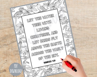 Bible Verse Coloring page | Printable | Instant Download PDF | Bible Coloring| Christian Coloring page |  Religious | Sunday School | Adult