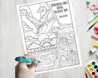 Adult Coloring Page- Inspirational Quote Coloring Page -Word Coloring - Line Art- Printable - Instant Download- Print at Home Color Therapy