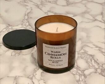 Warm Cinnamon Rolls Soy Candle - 10 oz amber jar