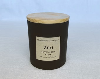Zen (Cool Citrus Basil) soy candle - 12 oz matte black jar