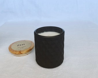 Zen (Cool Citrus Basil) soy candle - 8 oz geometric jar