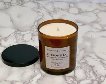 Citronella Soy Candle - 10 oz Amber Tumbler