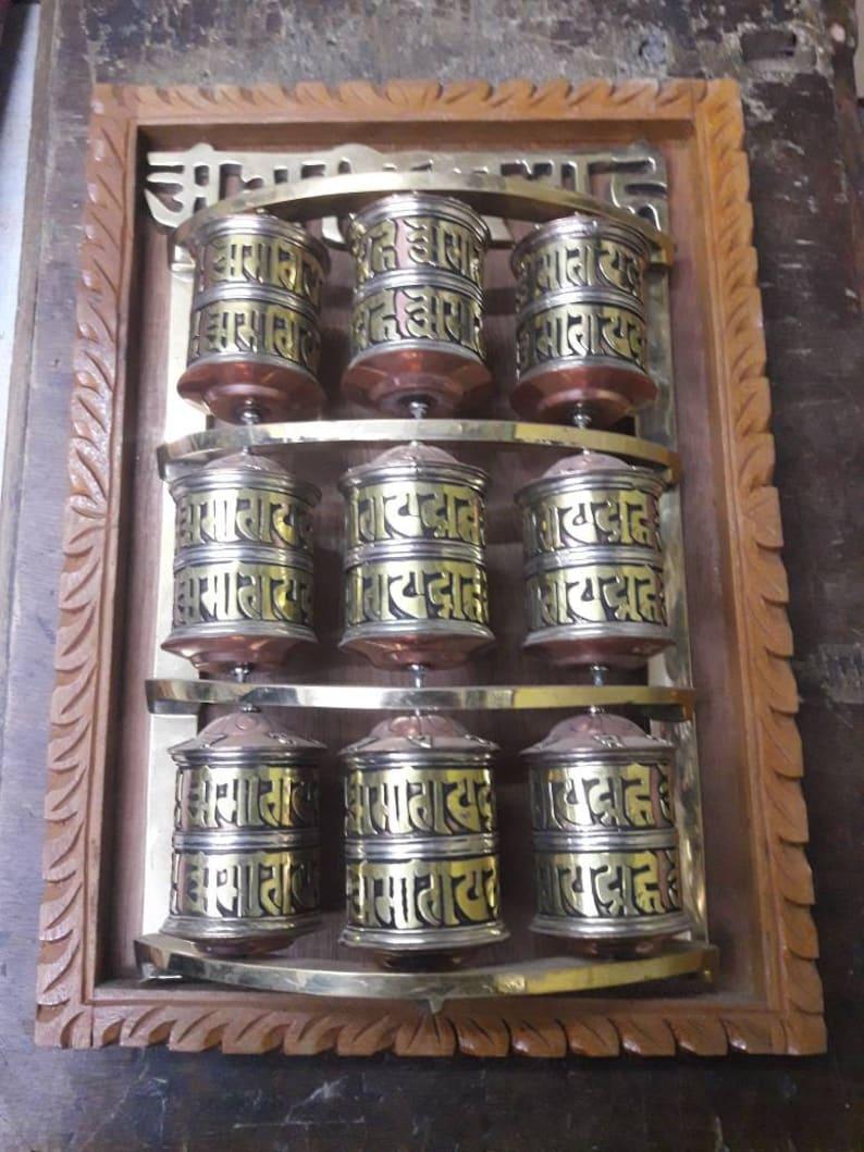 Vintage.Mantras Om Mani Padme Hum Wall Hanging Tibetan Prayer Wheels Brings peace,prosperity,love and compassion.