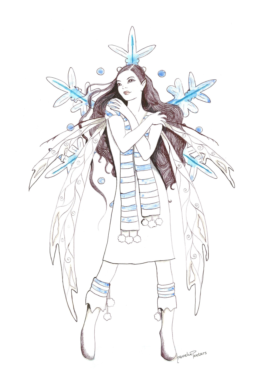 Snow Fairy Art Print Irish Mythology Fantasy Art Faerie Wall Art Magical Girl Home Decor
