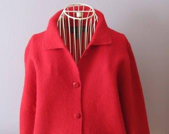 Vintage HERMAN GEIST Australia Boiled Wool Cardigan M