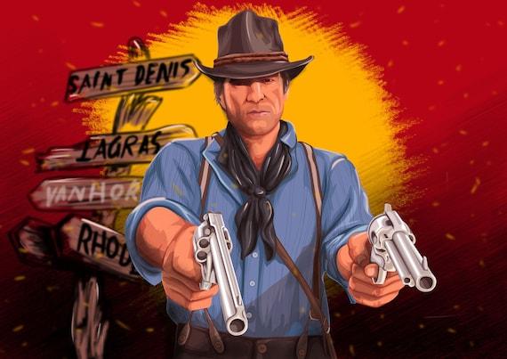 Arthur Morgan Red Dead Redemption 2 Poster Print Rdr 2 Art Prints Arthur Morgan Art Arthur Aiming