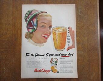 1953 Original Vintage Florida Orange juice ad