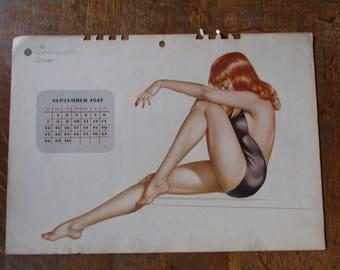 1947 Original Vintage Vargas Esquire Pin-up Calendar page
