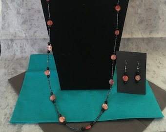 Black and peach with black stripes beaded necklace and earring set