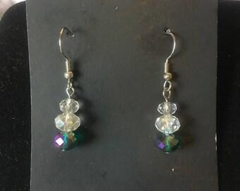 Colorful Swarovski crystal beaded earrings.