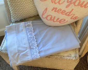Embroidered Bebe Pillow, Pale Blue